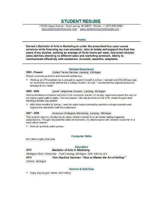 Sample College Student Resume Examples