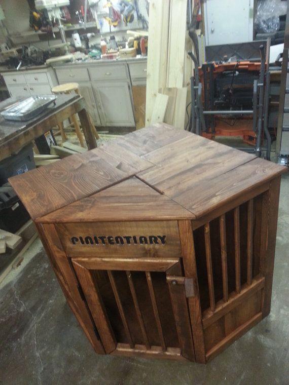 Custom Made All Wood Corner Dog Kennel By Medievaltourney On Etsy Wooden Dog Crate Diy Dog Crate Dog Crate Table