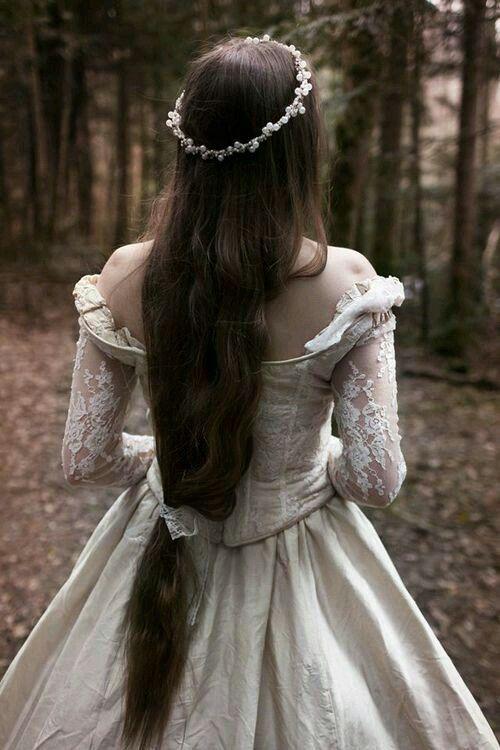 Beautiful Dress Floral Crown Long Hair Wedding Dresses Vintage