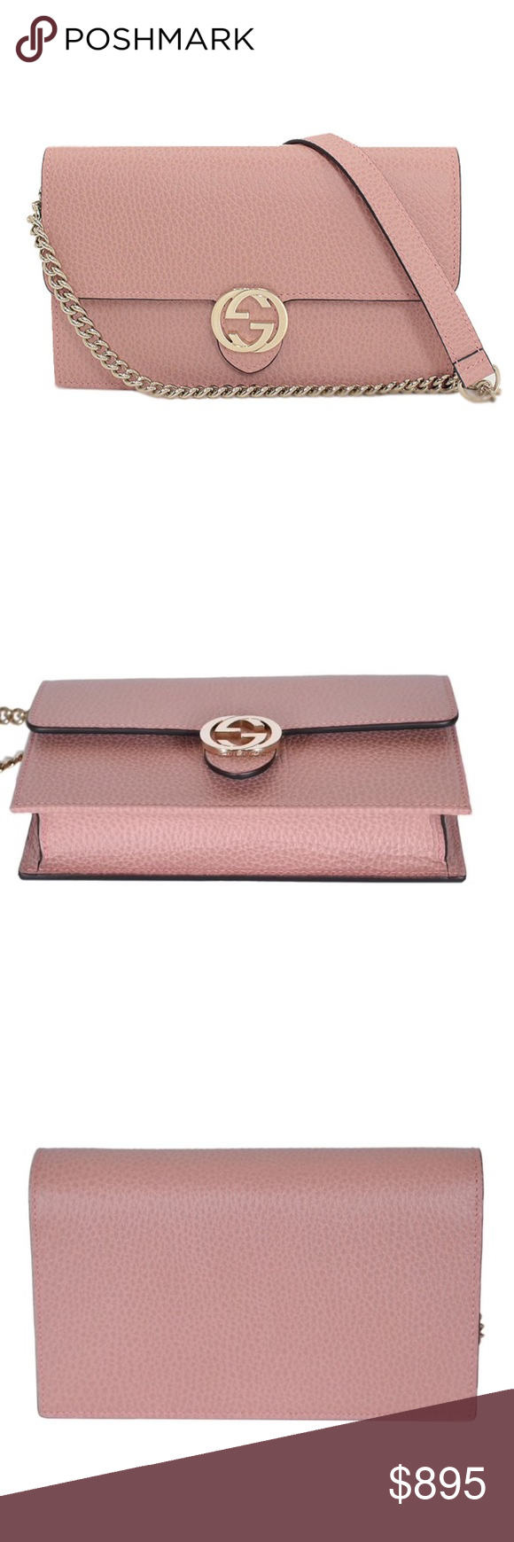Gucci Interlocking G Crossbody Wallet On Chain Bag NEW Gucci Pink Leather Interlocking GG Crossbody Wallet On Chain Bag Clutch 510314  Authenticity Guaranteed  DETAILS  Brand: Gucci  Condition: brand new  Retail price: $1290 plus tax Style: 510314 Color: pink  Material: leather  1 billfold 18 card slots Zip coin compartment Made in Italy Included: Gucci dust bag, care cards and Controllato card   MEASUREMENTS Length: 7.5 Height: 4.5 Width: 1.6  Strap drop: 48  Style: 510314 CA00G 5806 Gucci  #chainbags