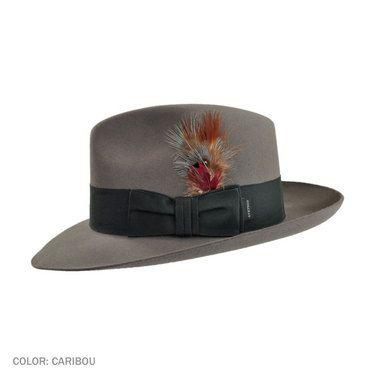 08f1c661d5b45 Stetson Temple Fur Felt Fedora Hat (Caribou Grey)