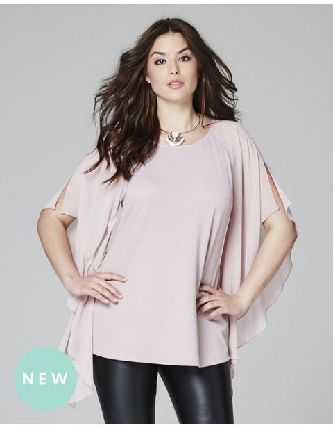 Batwing Top With Chiffon Sleeve
