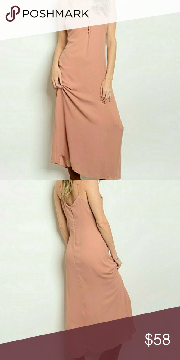 Maxi dress Gorgeous Maxi dress!! Cloth covered button detail along front, hidden back zipper with hook eye closure, adjustable spaghetti straps to fit multiple heights, silky chiffon like shell, lined to knee area Color: Dusty Pink 100% Polyester  Made in Vietnam Threadzwear Dresses Maxi