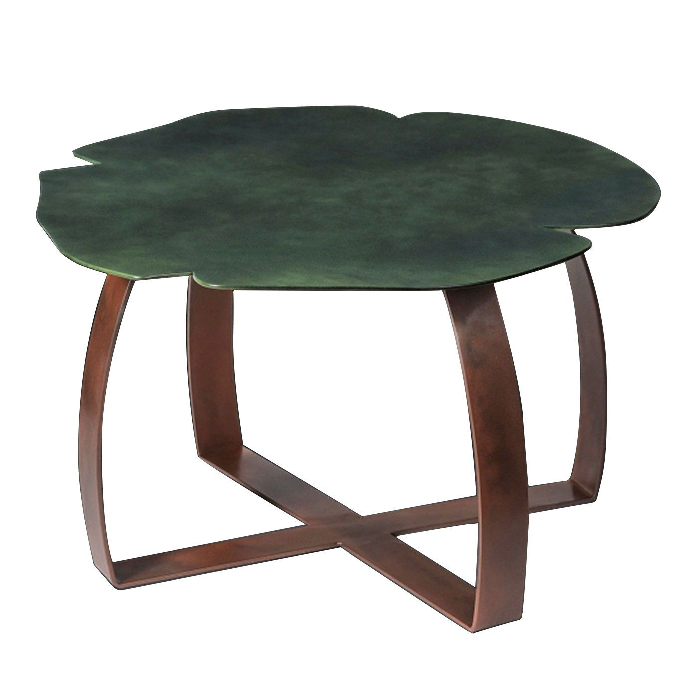 This industrial style coffee table is entirely made of iron and has