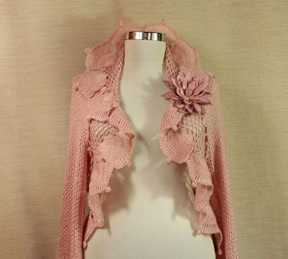 Chic Pink / Crochet Shrug Knit Bolero Cardigan Sweater Long Bell ...