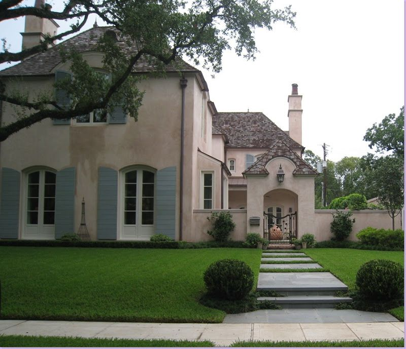 French Country Style Home Exterior: Pale Pink Stucco House From Cote De Texas Blog Cotedetexas