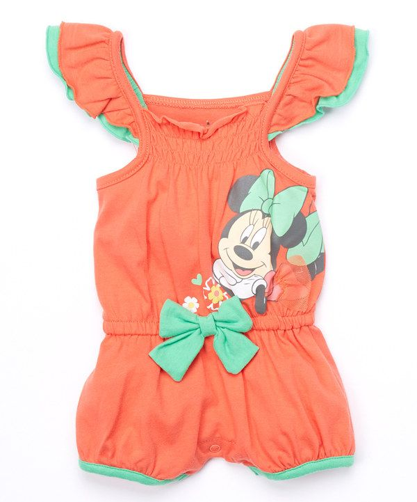 b90bc099d397 Look at this Orange Minnie Mouse Ruffle Romper - Infant on  zulily today!