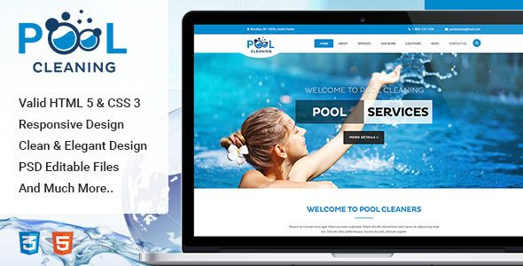 Pool Cleaning Construction Repair And Maintenance Services Html Template