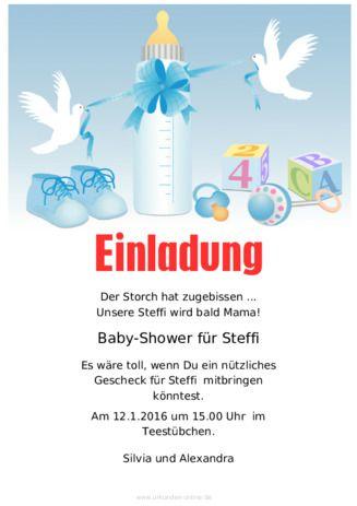 Beispiel Muster Einladung Babyparty Blau