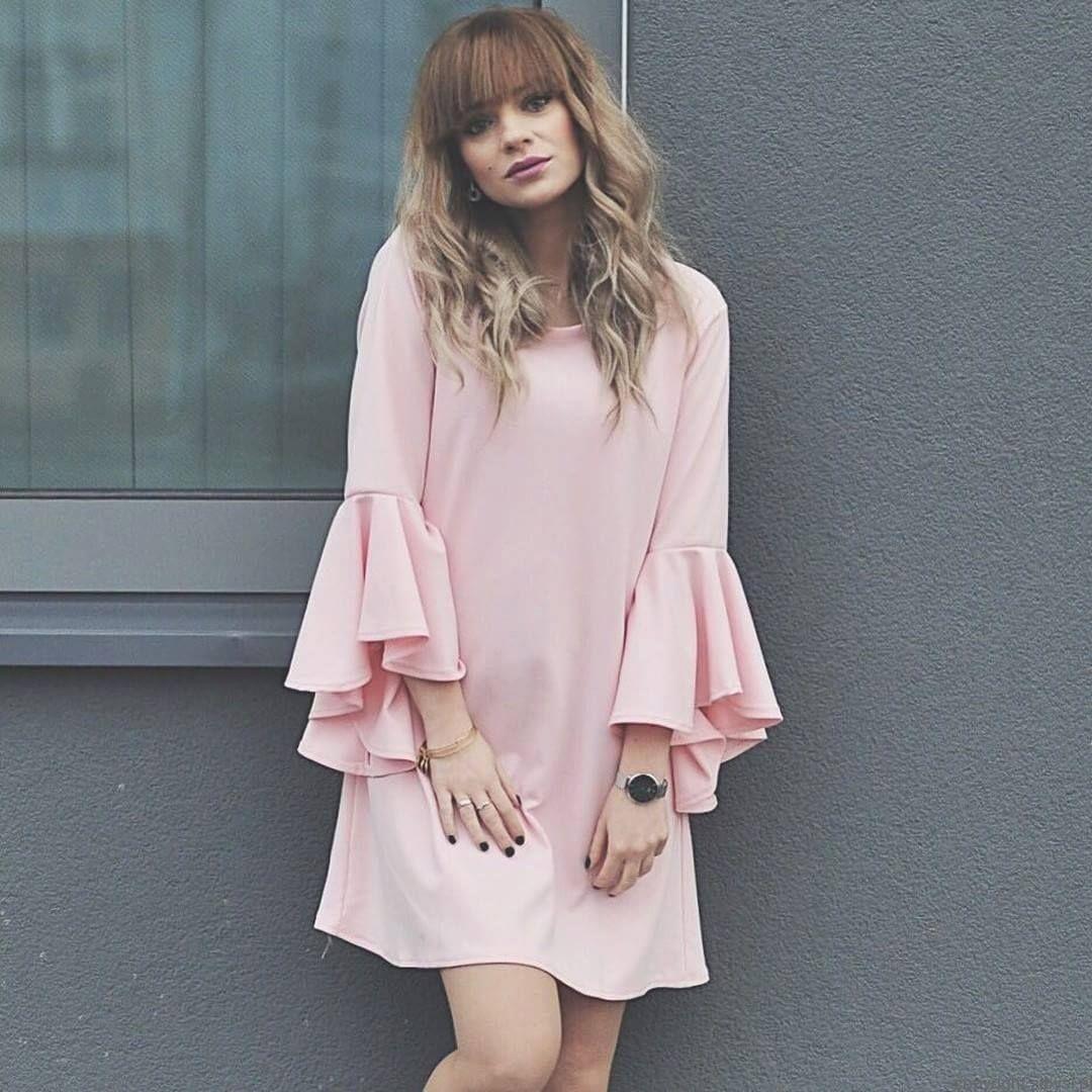 50a51d0c8f Bella- sukienka trapezowa (pudrowy róż)