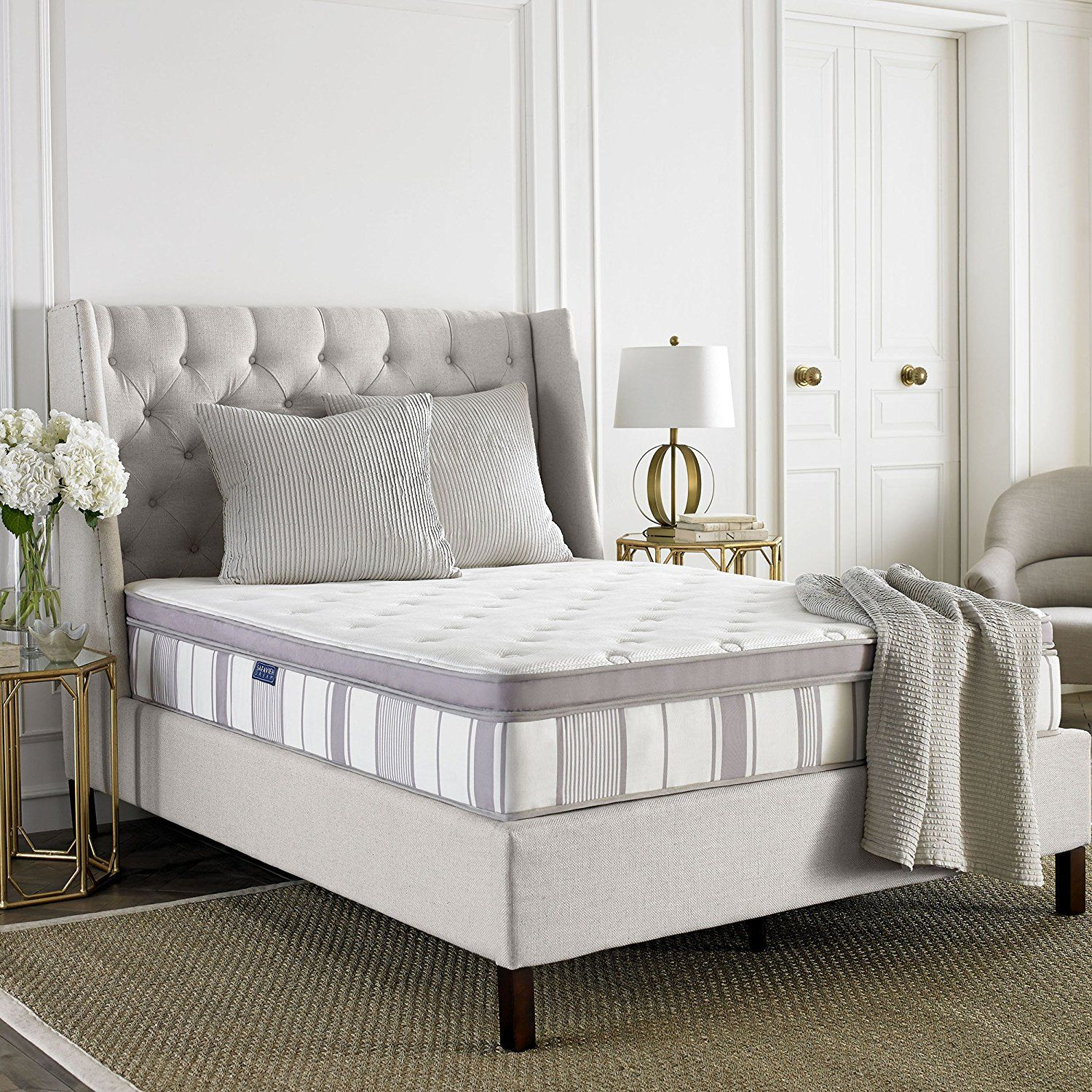 safavieh dream collection serenity white and grey spring mattress
