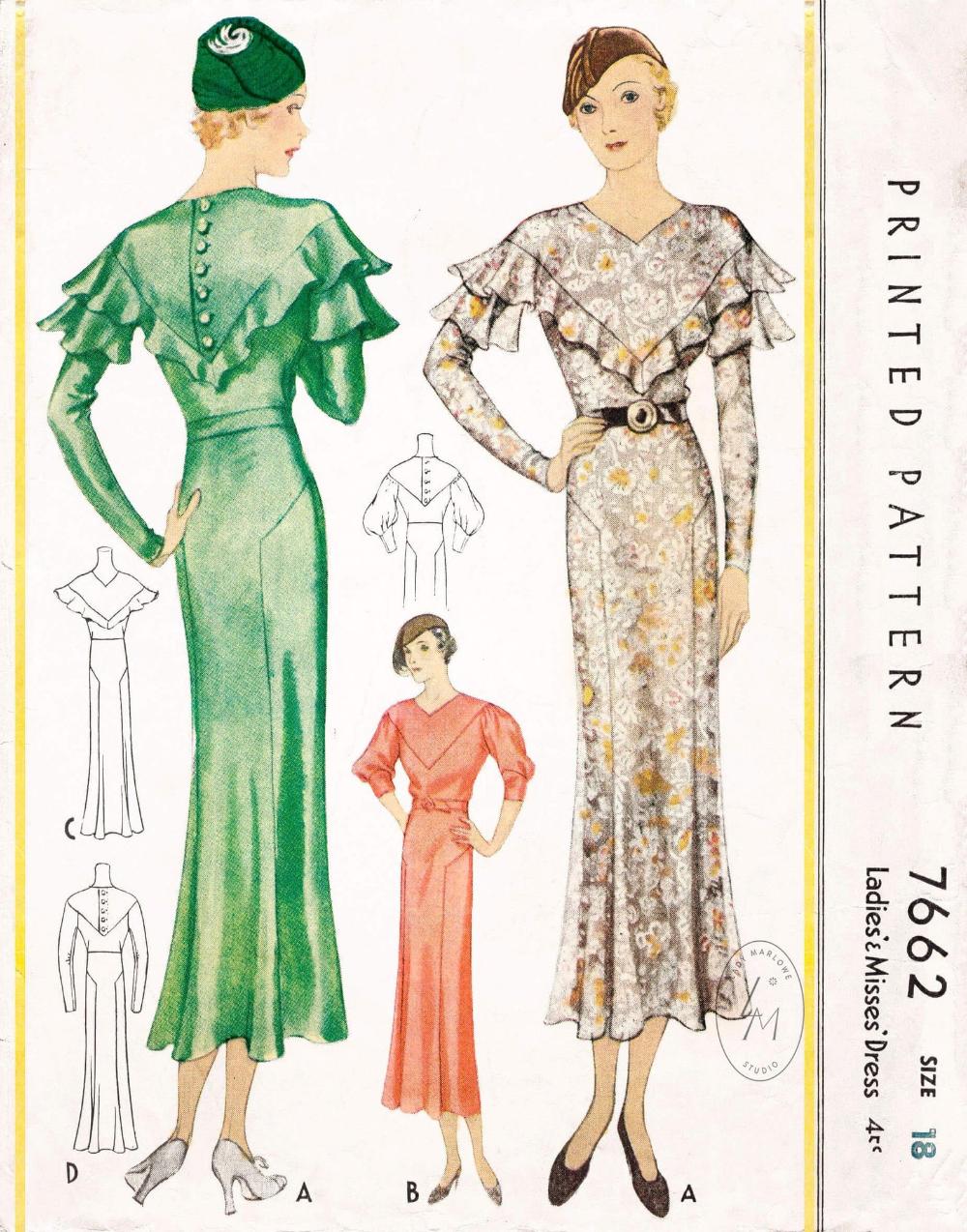 1930s Vintage Sewing Pattern Reproduction 30s Dress Sleeves Etsy Vintage Sewing Patterns Evening Gown Pattern Vintage 20s Dresses