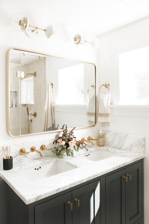 Dark Gray Vanity Gold Framed Bathroom Mirror Brass Faucet And