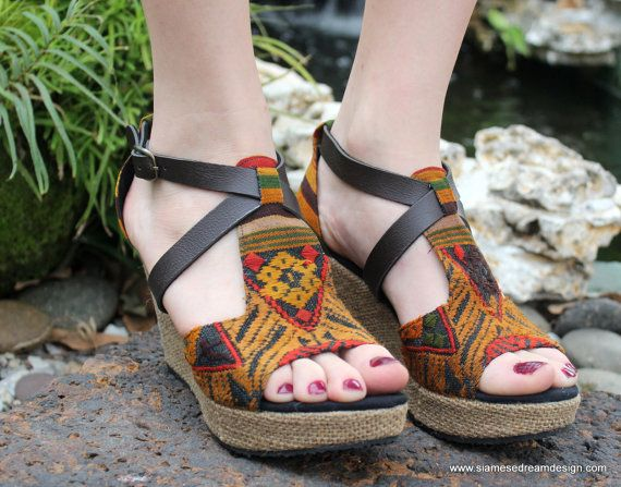 8647bfce312d2 Laos Embroidered Vegan Womens Sandals Faux Leather Straps by ...