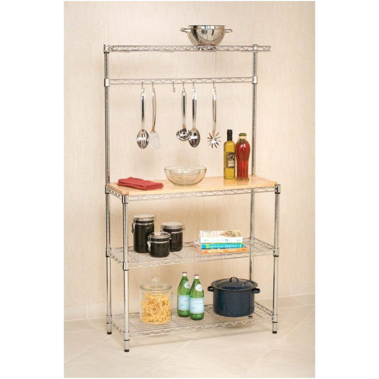 Modern Kitchen Bakers Rack With Hanging Bar