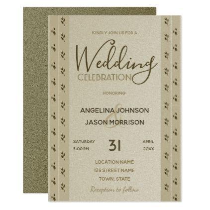 Wedding Invitation Golden Floral Elegant Classy