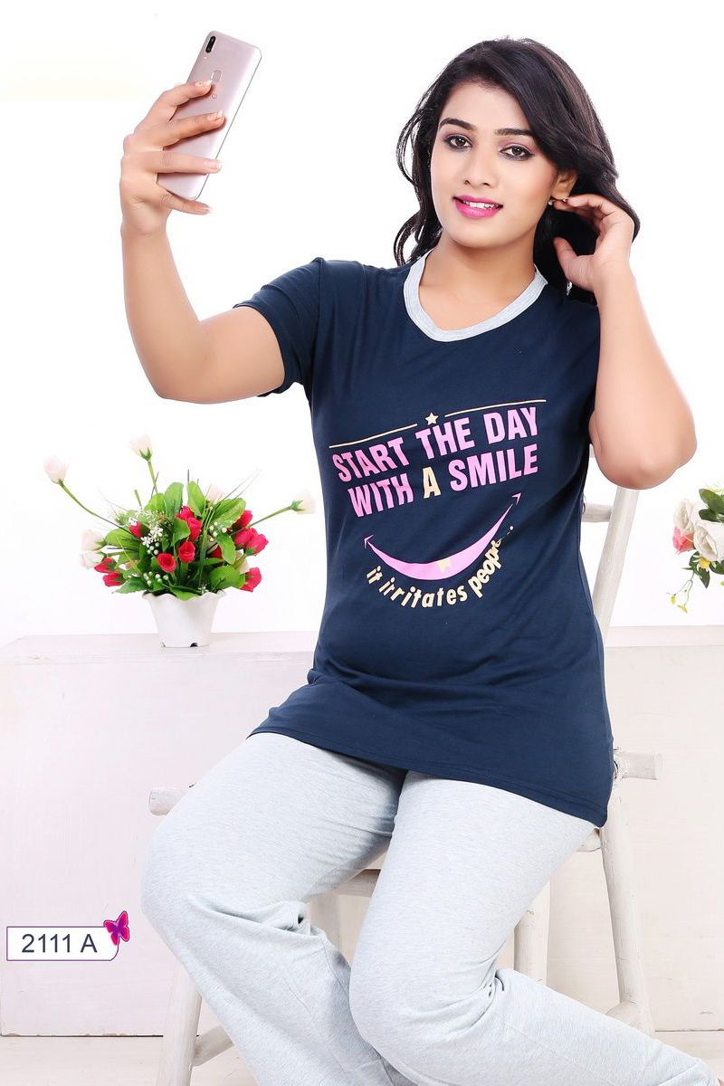 32bf1ac0f3 Whatsapp  - +91 9377709531 Blue-Simple-Cotton-Womens-Night-Wear-Printed- Tshirt-And-Pant-In-Wholesale-2111A-12540  wholesale  bulk   wholesalesupplier ...