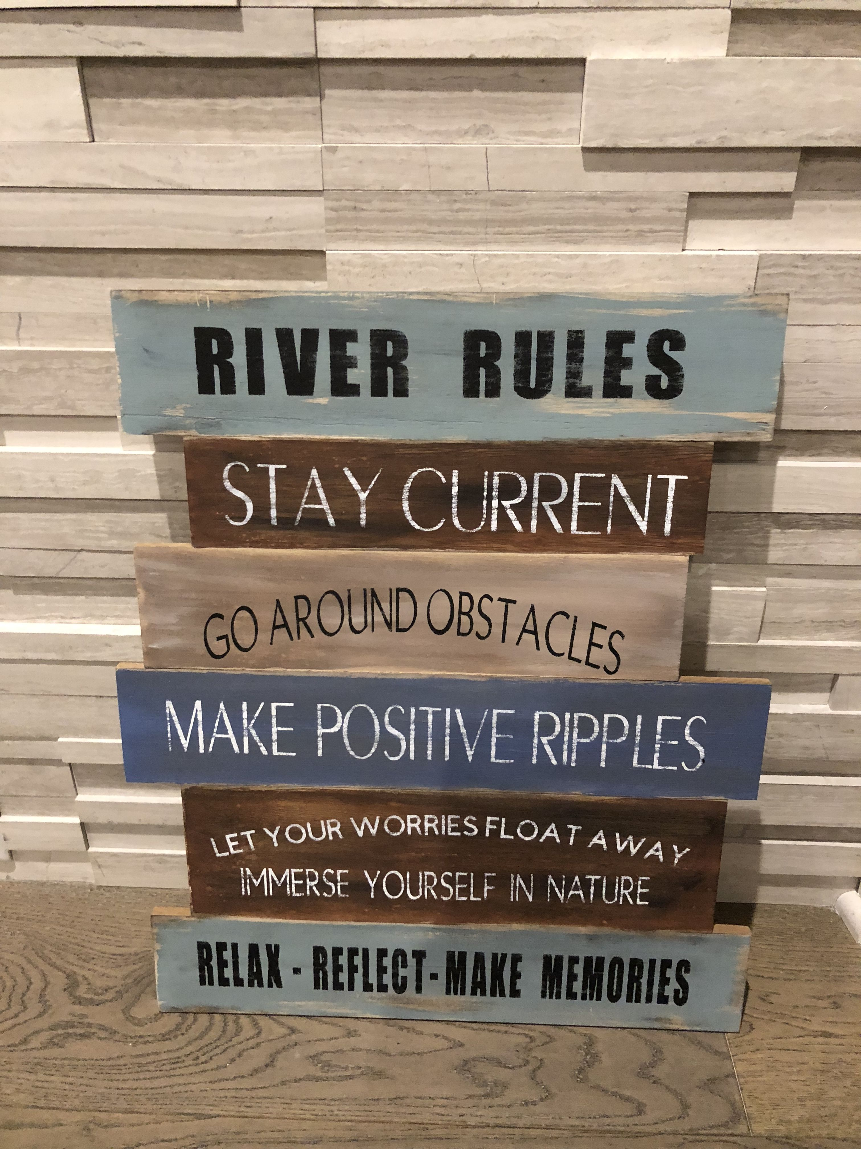 River Rules Painted Wood Sign Wood Signs Quotes Sayings Home
