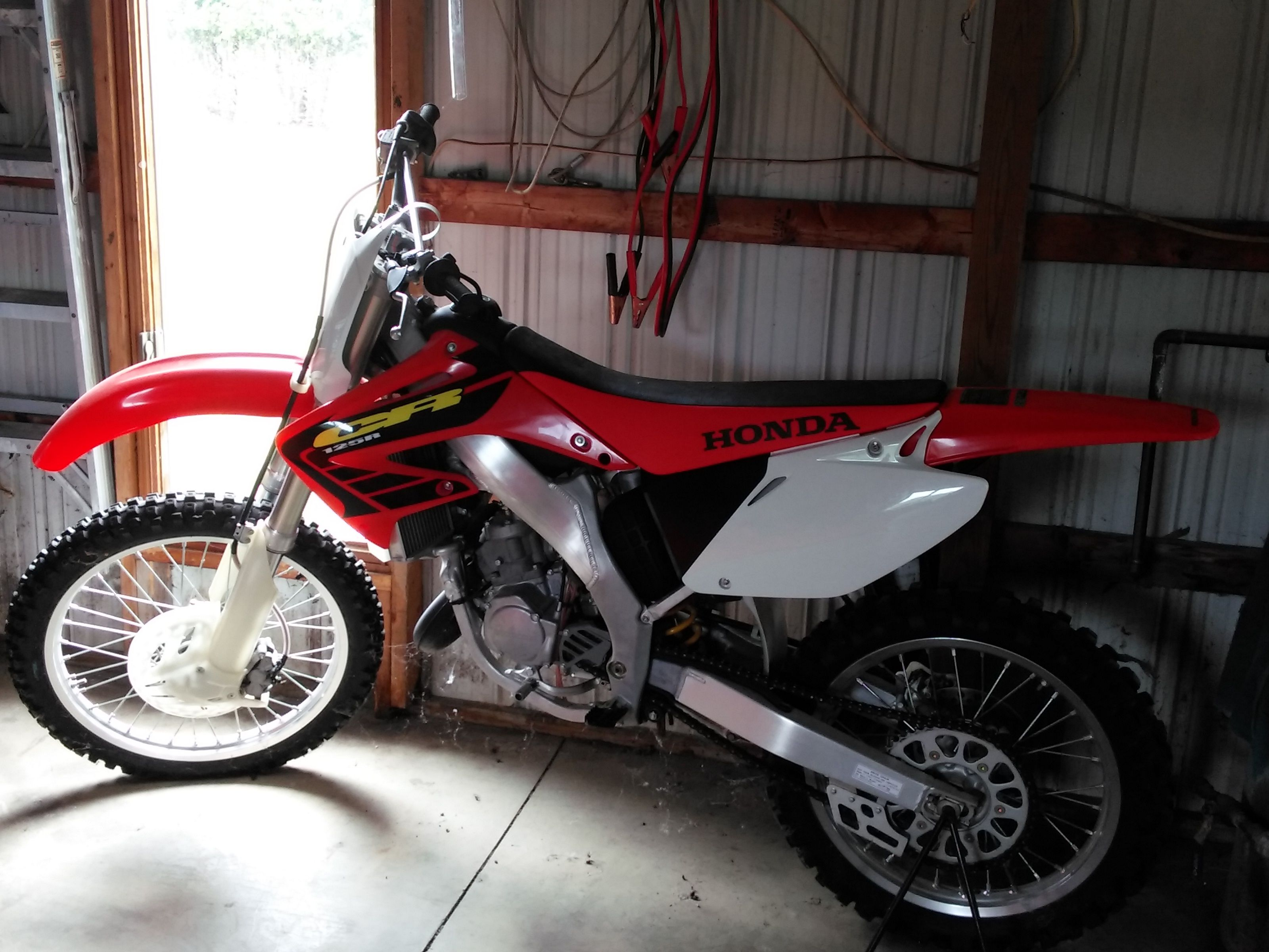 Nice 2002 Honda CR125 2 Stroke Dirt Bike In Okeleyu0027s Garage Sale In Wolcottville  , IN For $1400.00. Wheels Still Have Nubs On Them. Hardly Ever Used.