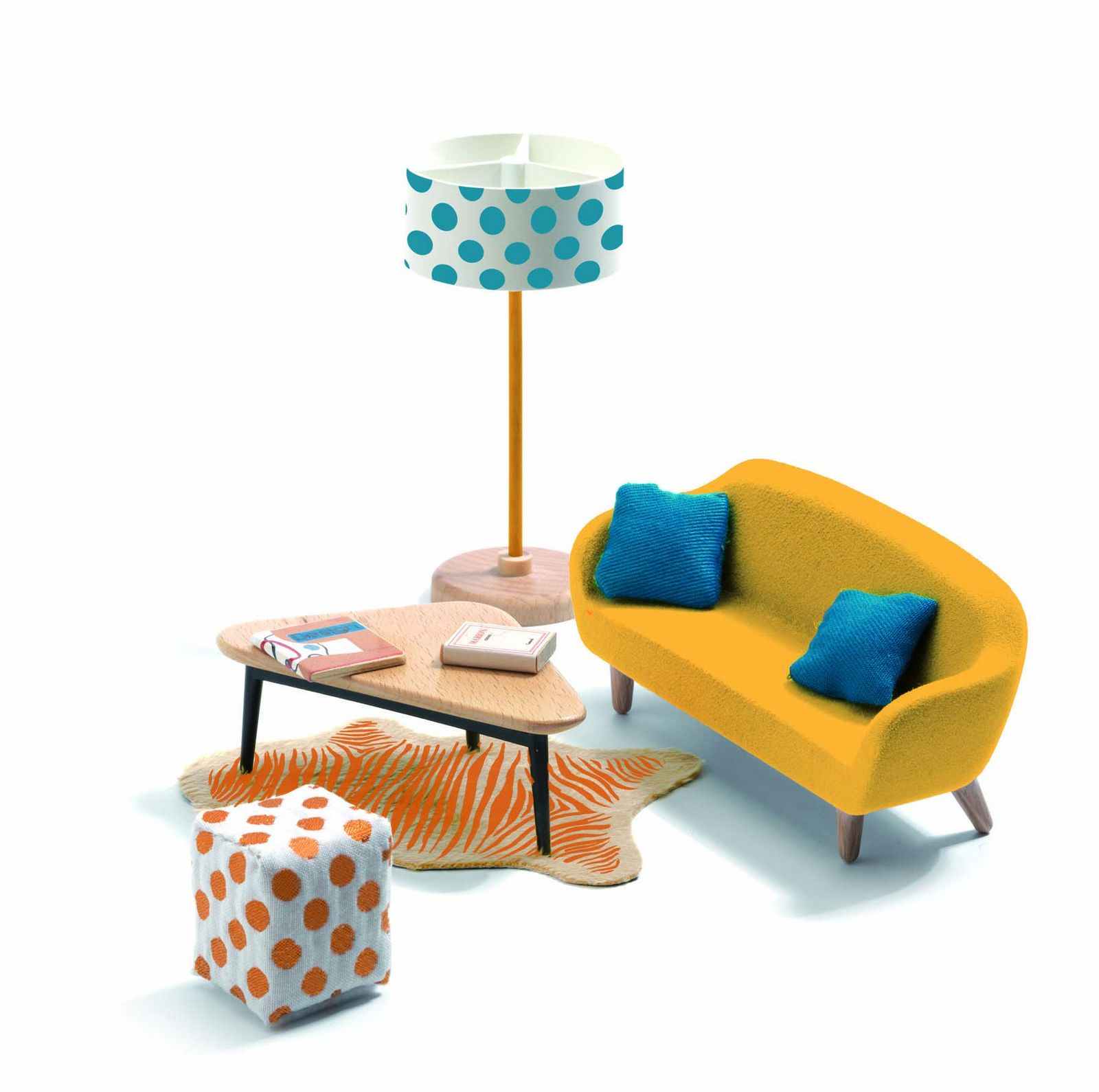 Djeco The Orange Living Room Dolls House Furniture