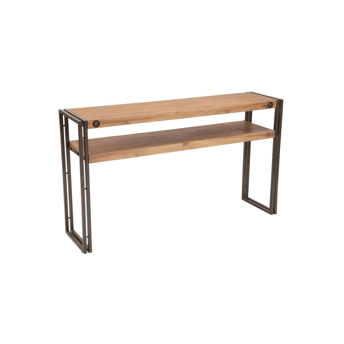In solid acacia with dark metal accents this console table embraces