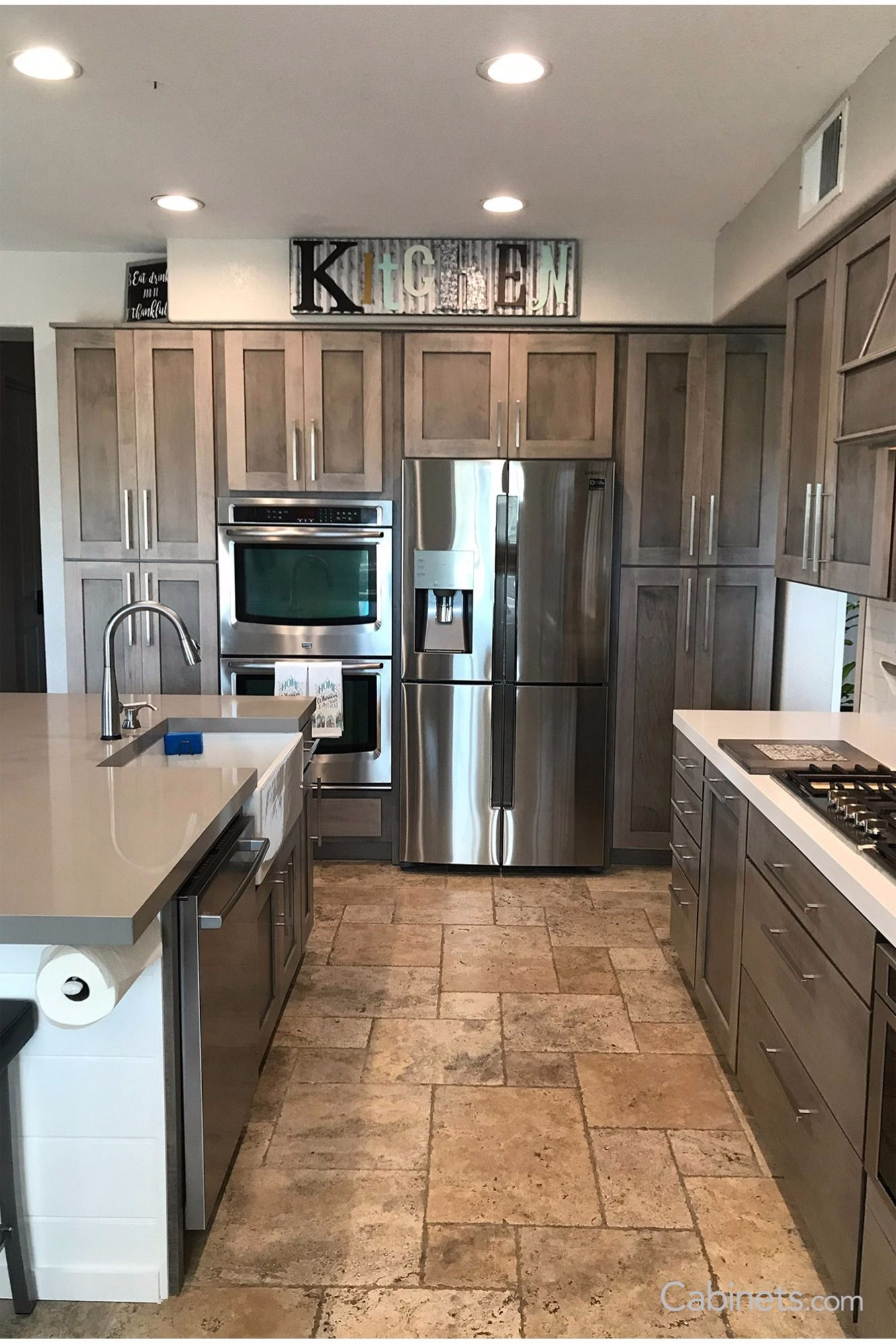 This Farmhouse Modern Kitchen Features Shaker Cabinets In Our New Gray Stain Storm Stained Kitchen Cabinets Kitchen Cabinet Styles Kitchen Cabinets For Sale