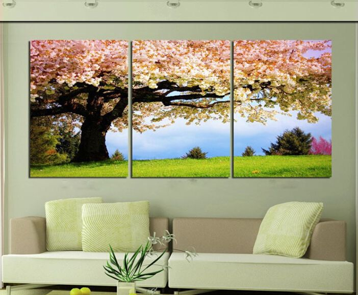 g nstige 3 st ck kunst l leinwand romantische wandkunst baum bild leinwand malerei gr nen baum. Black Bedroom Furniture Sets. Home Design Ideas