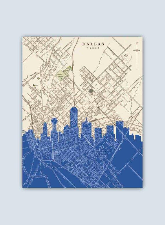 Dallas Skyline Dallas Art Print Dallas Decor Dallas Poster