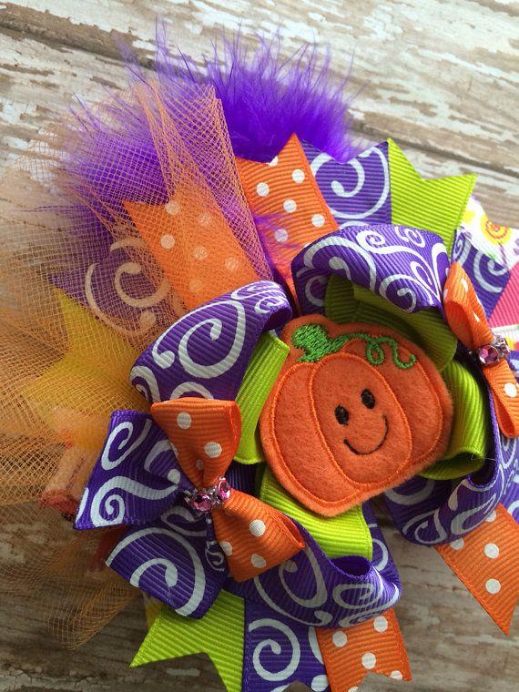 Handmade Pumpkin Hair Bow Halloween Hair Bow Fall Hair Bow.