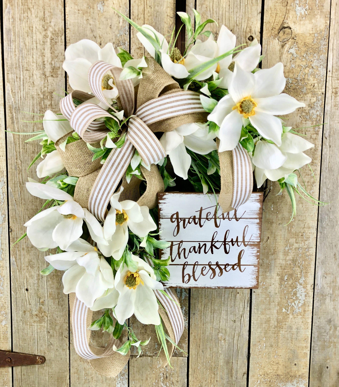Photo of Magnolia Wreath, Summer Magnolia Wreath, Summer Wreath, Farmhouse Wreath, Rustic Wreath, Everyday Wreath, Grateful Thankful Blessed Decor
