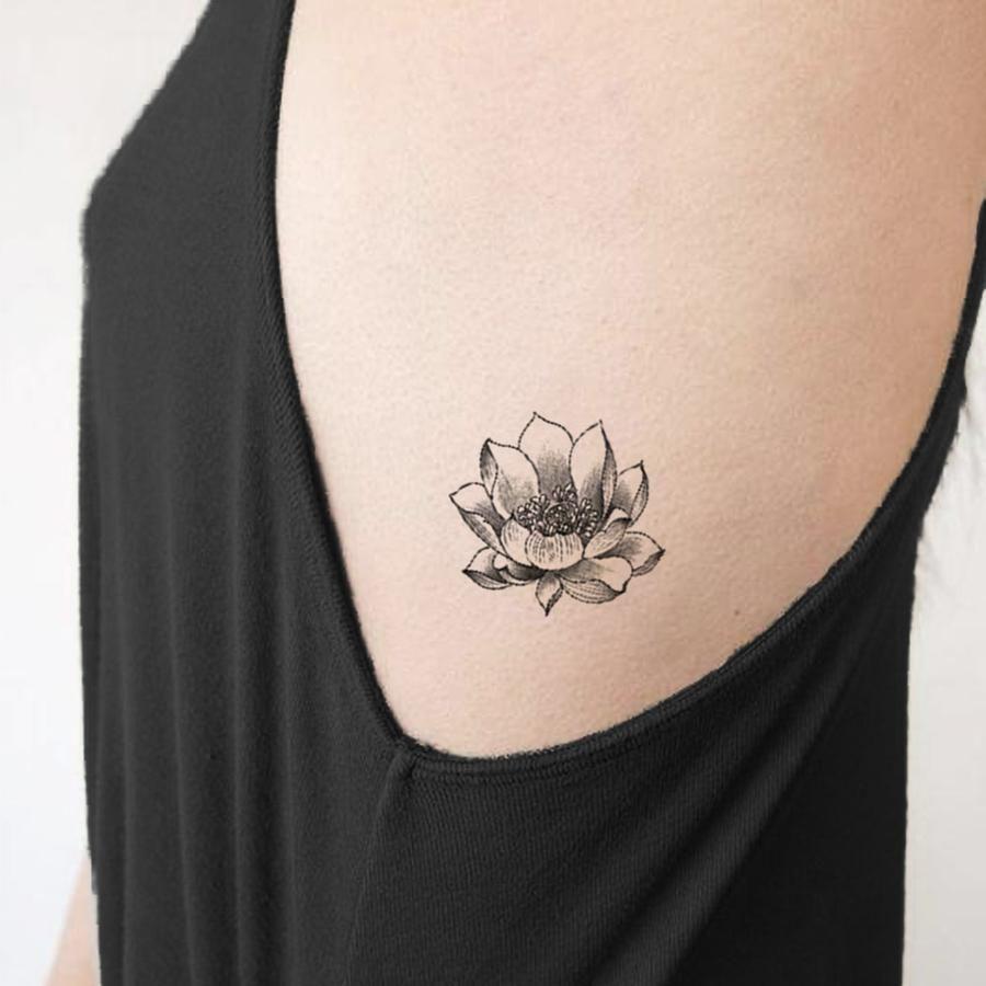Garnet Delicate Black Peony Flower Outline Temporary Tattoo