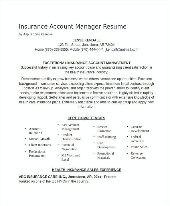 Insurance Account Manager Resume 1 , General Manager Resume , Find - account management resume