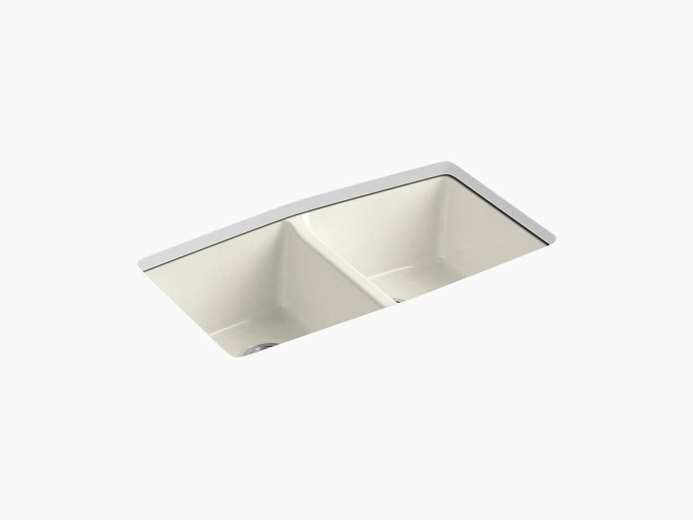 Kohler K 5846 5u Brookfield 33 Cast Iron Kitchen Sink Undermount Double Equal Kitchen Sink With 5 Faucet Holes Sink Double Bowl Kitchen Sink Cast Iron Kitchen Sinks
