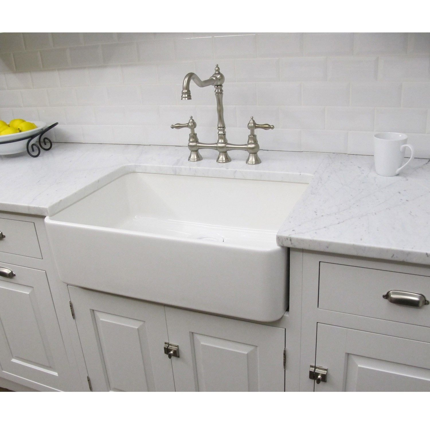 Large White Fireclay Apron Front 29 5 Inch Farmhouse Kitchen Sink