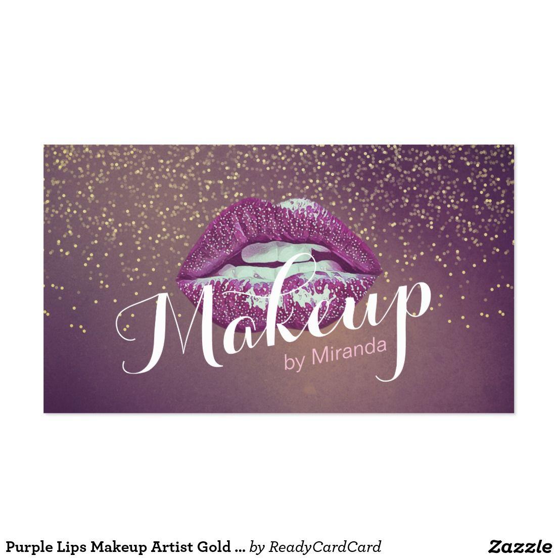 Purple Lips Makeup Artist Gold Glitter Appointment Purple Lips