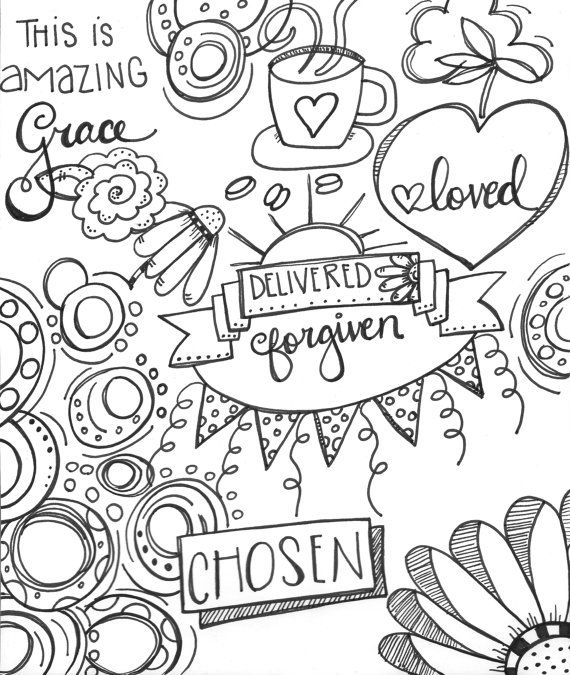 Chosen Delivered Forgiven And Amazing Grace Coloring Page