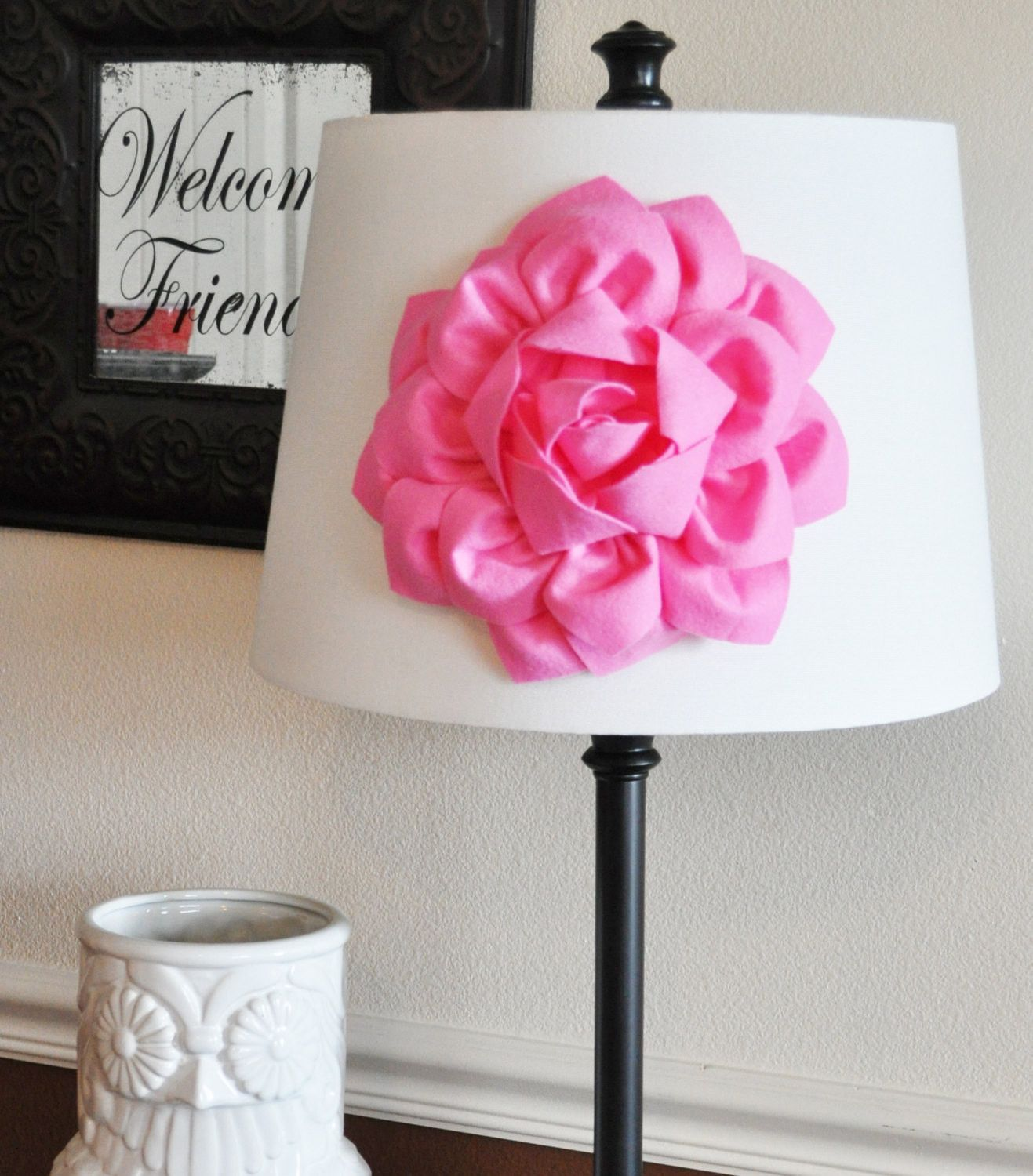 Mothers Day Sale Pink Dahlia Flower Lamp Shade Applique Lamp Shade