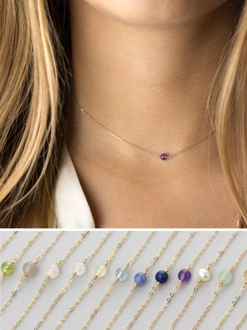 Simple Birthstone Necklace Everyday Dainty Chain