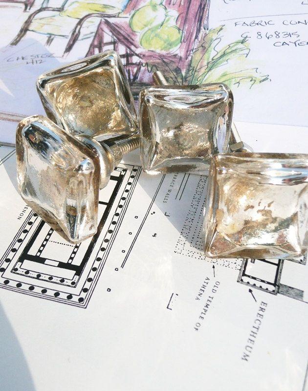 mercury glass knob glass drawer pull 4 25 via etsy lets