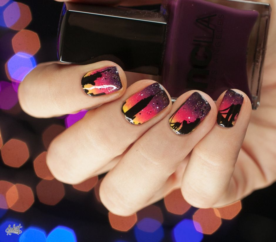 Nail art Skyline avec Maybelline