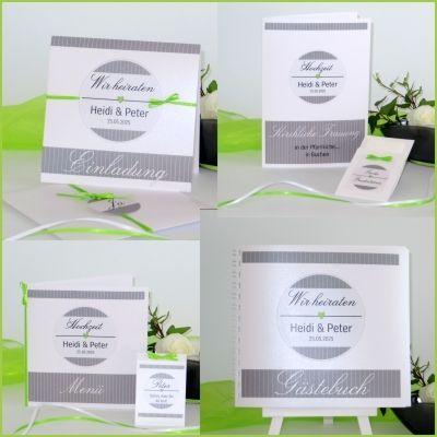Außergewöhnliche Hochzeitskarten in grün und grau