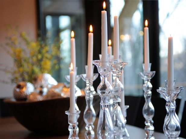 Clear glass candleholders....