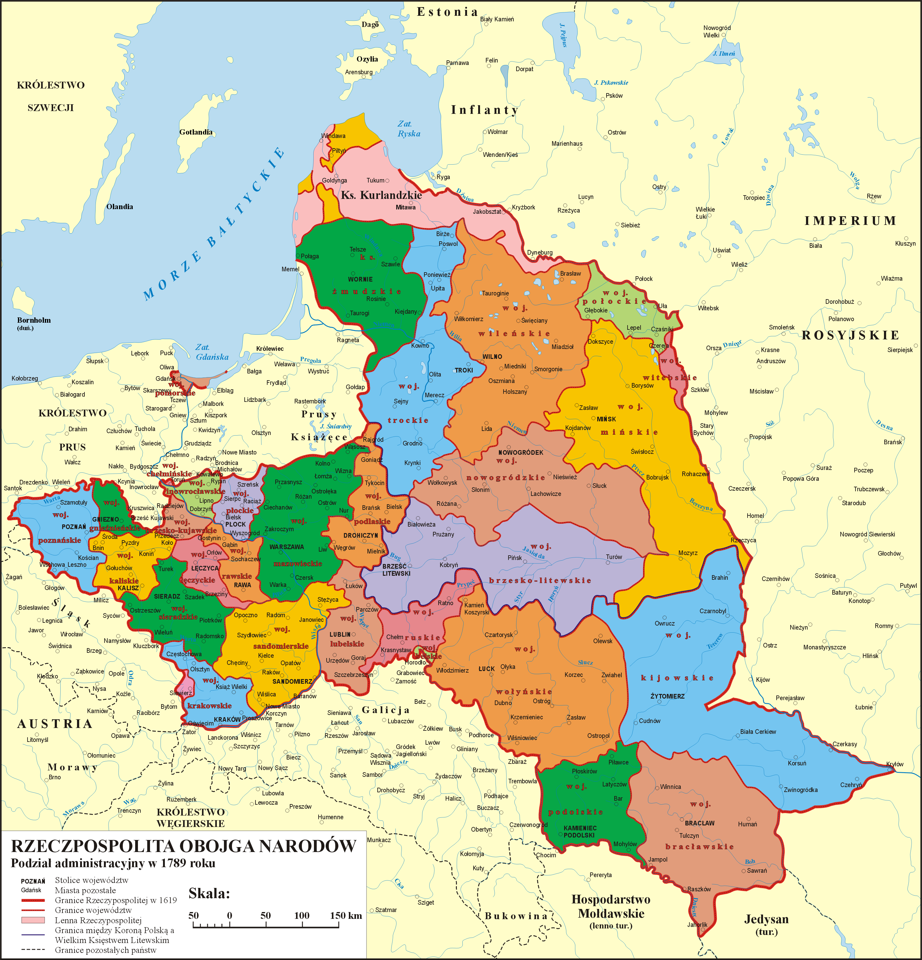POLAND [1773 1793] Administrative division of the Polish