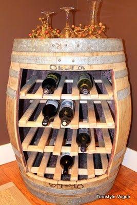 Wine Barrel Wine Rack...it has a hint of wood.  Ma'am that was made in  a steel barrel lol