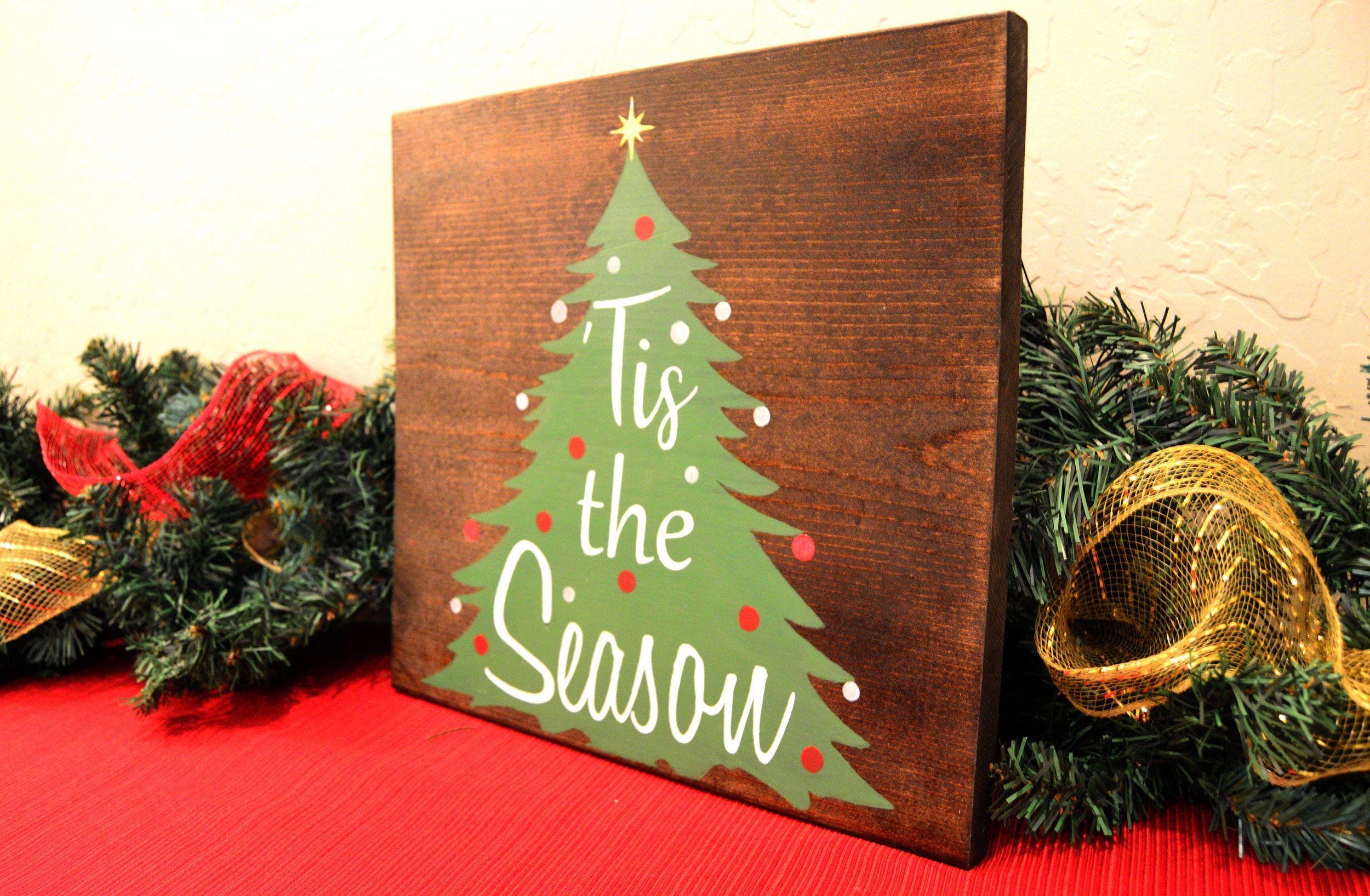 Tis the Season wood sign Christmas wall Decor