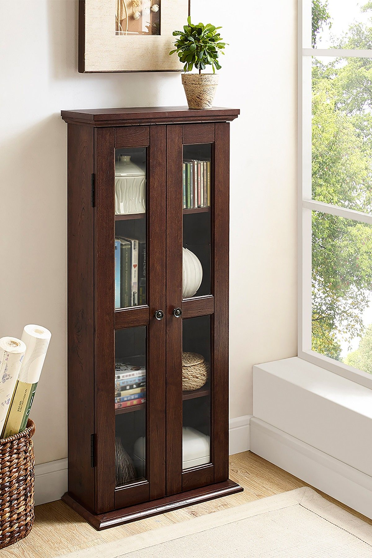 Walker Edison Furniture pany Brown Wood Media Storage Tower