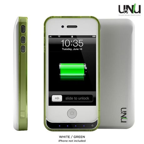 uNu DX Lite 1500mAh Battery Pack with Removeable Bumper for iPhone®4 & 4S