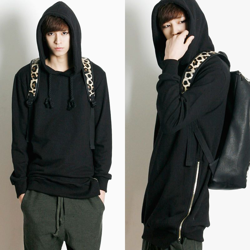 Remember Click Side Zip Drawstring Hoodie BLACK DARKGRAY ONE SIZE Korean Wear #RememberClick #Hoodie