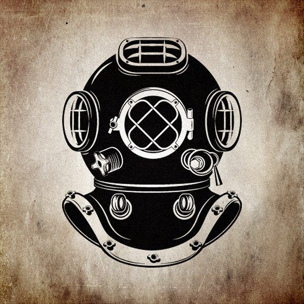 Old style diver helmet. diver logo vector shutterstock