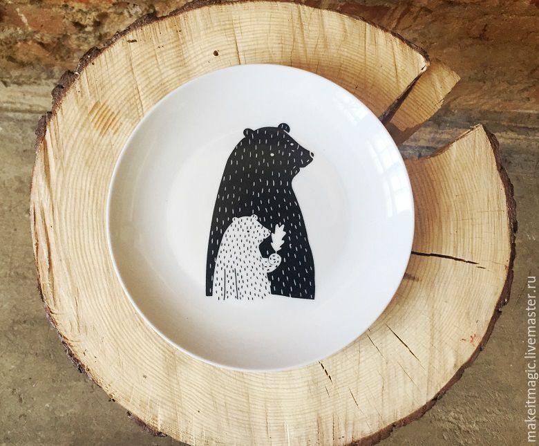 Купить Тарелка Медвежата Sans Brides - белый, черный, чёрно-белый, тарелка…